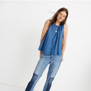 Madewell Riverbank Button-Back Top in Indigo